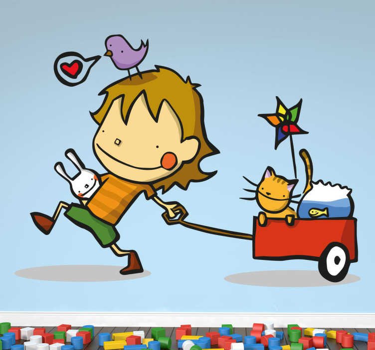 TenStickers. Little Boy With Cart Sticker. Decorative sticker of a happy child pulling along a little red cart filled with his pet at and goldfish.