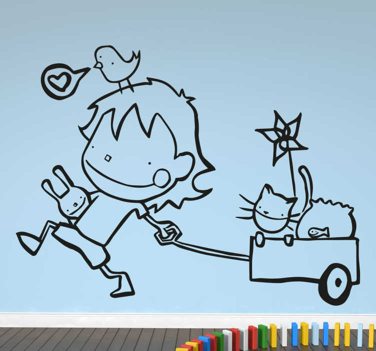 TenStickers. Child With Pets Sticker. Decorative kids sticker of a child with a cart and animals. Ideal for decorating the room of your children.
