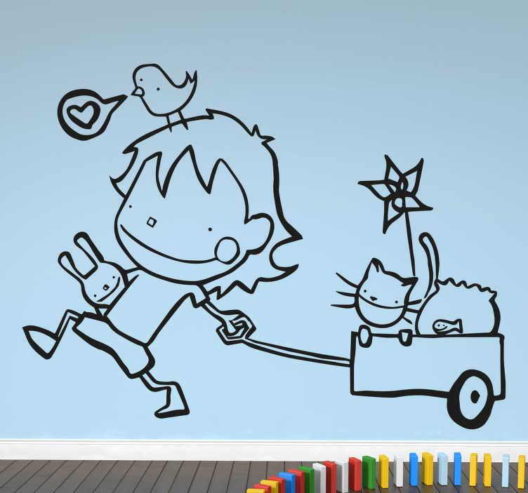 TenStickers. Autocolante decorativo menino e as suas mascote. Autocolante infantil ilustrado com uma criança a divertir-se as suas mascotes.
