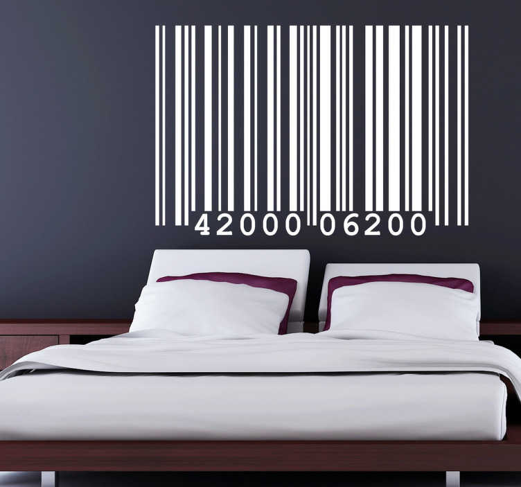 sticker t te de lit code barres tenstickers. Black Bedroom Furniture Sets. Home Design Ideas