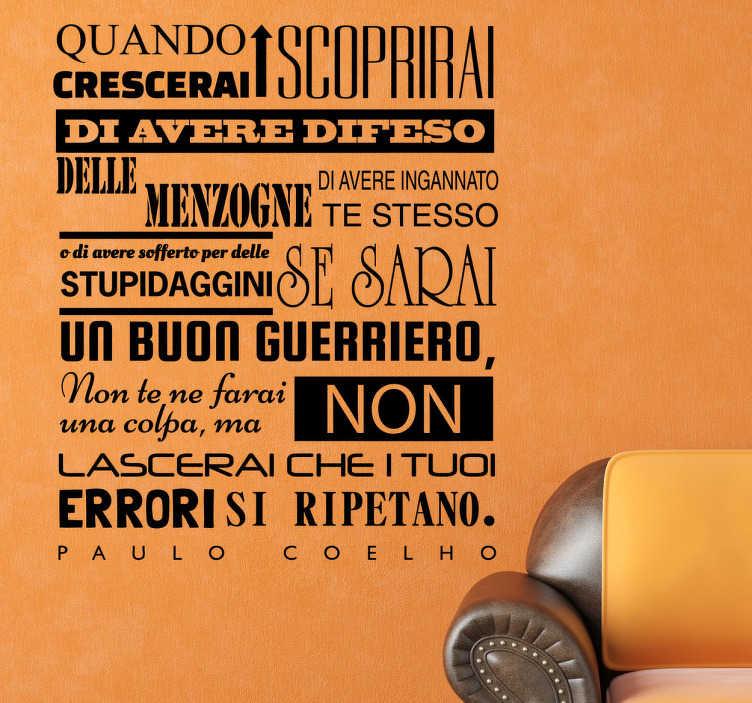 TenStickers. Sticker decorativo quando crescerai. Adesivo di disegno tipografico originale con uno dei fantastici consigli dell'autore braziliano Paulo Coelho.