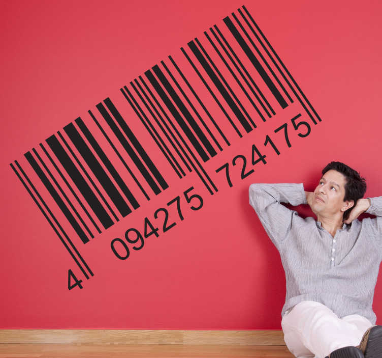 TenStickers. Bar Code With Numbers Sticker. Barcode wall stickers - A decorative sticker of a bar code with numbers below. Perfect for as a business or office wall sticker.