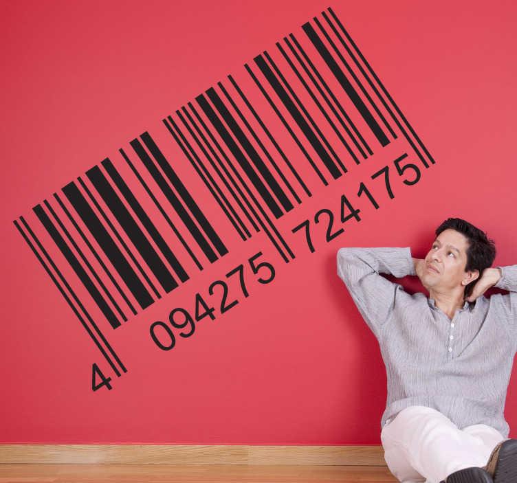TenStickers. 바코드 벽 스티커. 바코드 벽 스티커 - 아래 번호와 바코드의 장식 스티커. 비즈니스 또는 사무실 벽 스티커로 완벽 한.