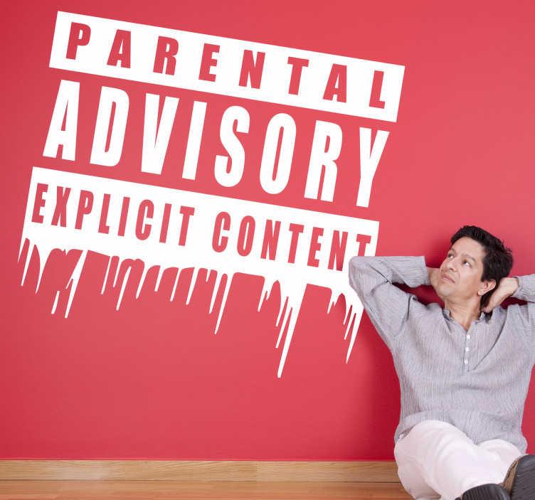 """TenStickers. Sticker parental advisory. Personnalisez votre espace avec le célèbre logo """"Parental Advisory"""" sur sticker."""