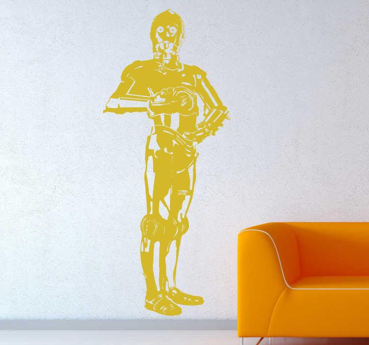 TenVinilo. Vinilo decorativo C3PO. Vinilo decorativo del carismático robot C3PO que aparece en todas las sagas de Star Wars. Crea un hogar divertido y ambientado en estas magníficas películas. Demuestra que eres un gran fan personalizando tus estancias con este vinilo y otros que encontrarás en nuestro catálogo.