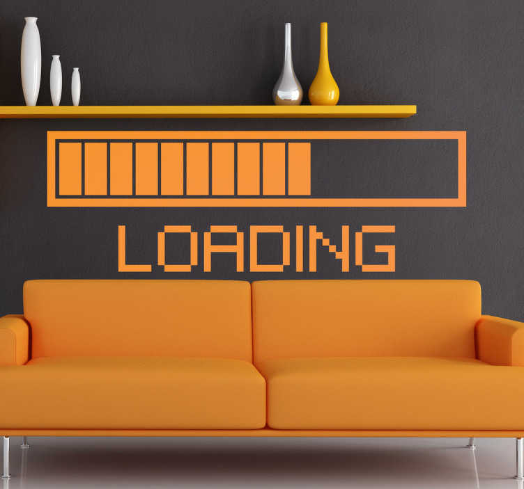 """TenStickers. Wandtattoo """"Loading"""". Dekoratives Wandtattoo: Gestalten Sie Ihr Zuhause mit diesem Wandsticker mit dem lustigen Text """"Loading"""" und ein entsprechender Balken"""