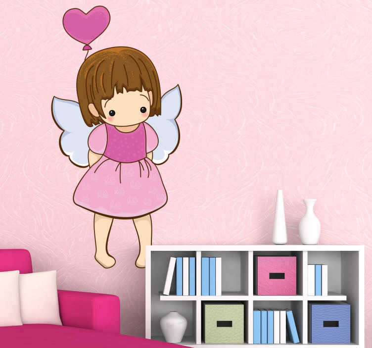 TenStickers. Shy Little Angel with Balloon Sticker. A decorative angel wall art decal of a little shy angel holding a heart shaped balloon. Brilliant sticker to decorate your child's room.