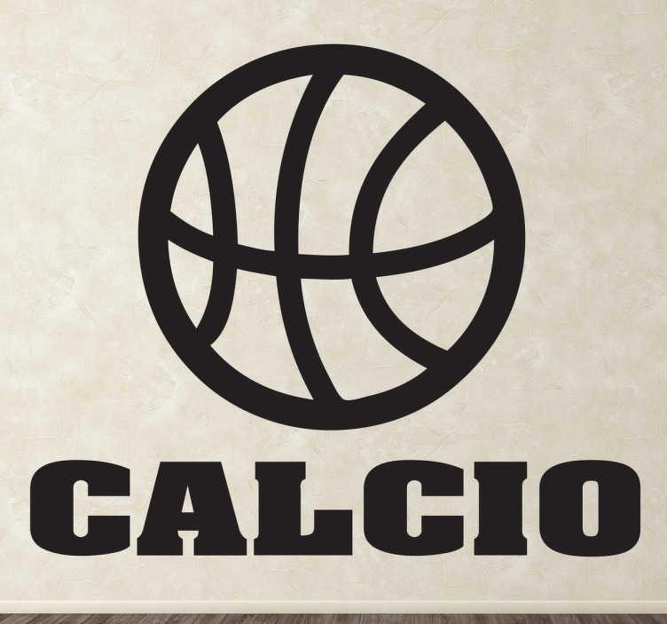 TenStickers. Sticker decorativo ironia football. Adesivo murale che raffigura l'icona di una palla da basket accompagnata dalla scritta calcio. Una decorazione simpatica per gli appassionati di sport