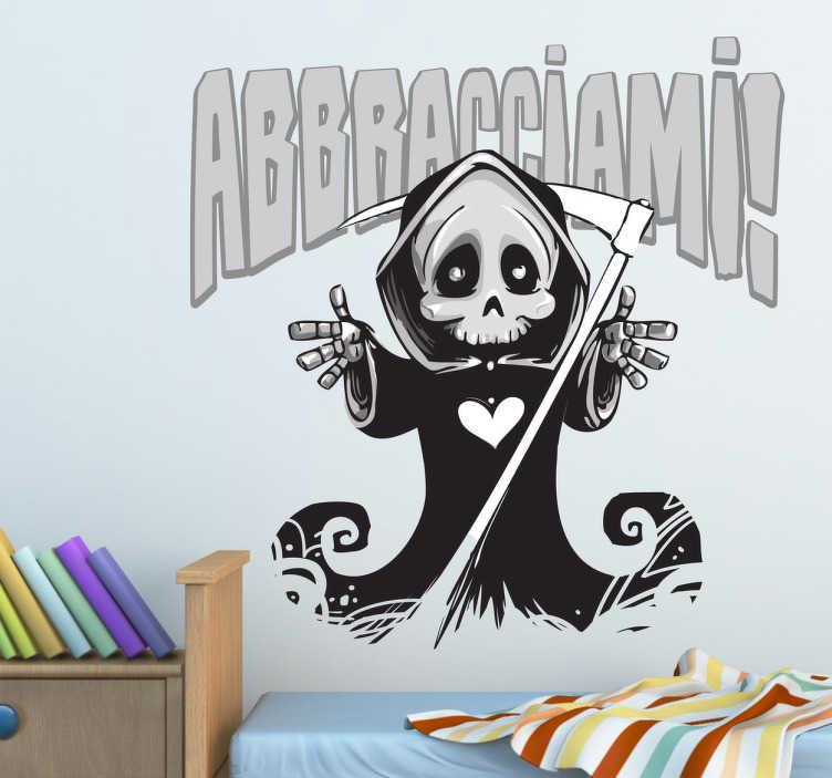 TenStickers. Adesivo murale abbracciami. Wall sticker che raffigura la Morte che chiede di essere abbracciata. Una decorazione alternativa per la camera da letto.