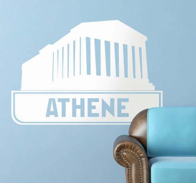 TenStickers. Sticker tempel athene oude grieken. Een leuke muursticker van een tempel uit het oude Griekenland uit de  stad Athene. Een prachtige wandsticker voor het decoreren van uw woning.