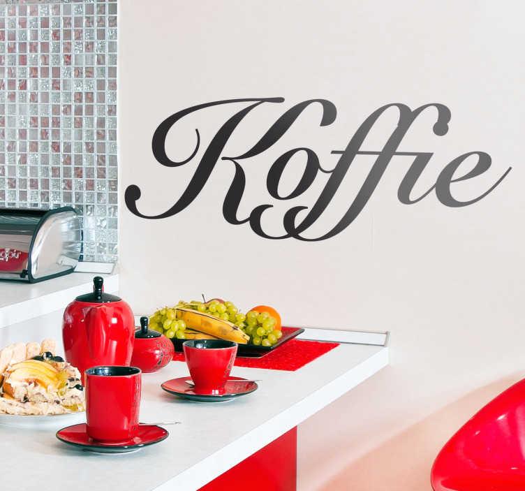 """TenStickers. Sticker tekst koffie. Een leuke decoratie sticker met het woord """"koffie"""". Een leuke manier voor het decoreren en personaliseren uw huis,café of restaurant."""