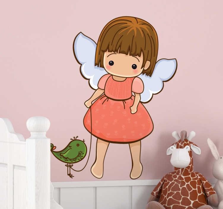 TenStickers. Naklejka dla dzieci cherubin 1. Naklejka na ścianę dla dzieci przedstawiająca dziewczynkę - aniołka, który spaceruje z zielonym ptaszkiem.