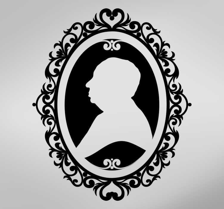 TenStickers. Nakllejka dekoracyjna portret profilowy odwrócony. Naklejka dekoracyjna, którą możesz stworzyć sam! Twój profil obramowany czarnym tłem.