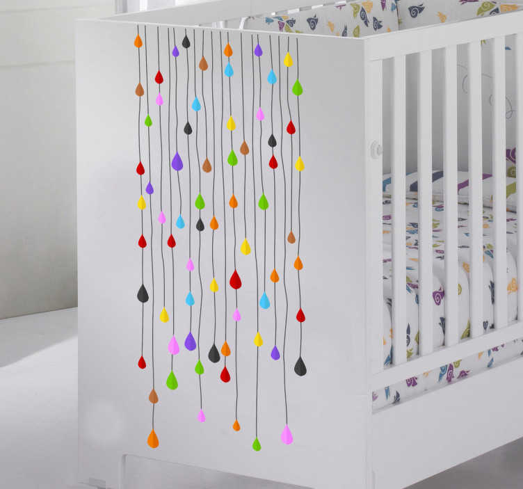 Tenstickers. Remsor av färgstarka droppar klistermärke. En kreativ och original klistermärke med många remsor som ger ditt barns rum en mycket glad atmosfär. Denna fantastiska dekal för barnrum finns i olika storlekar!