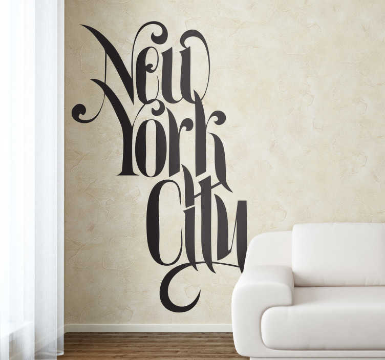 "TenStickers. New York City Text Decal. New York - ""New York City"" text design. Great for fans of the Big Apple. Ideal for decorating your home or business."