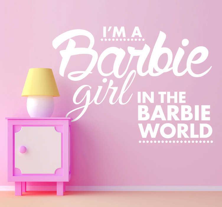 TenStickers. Vinil Infantil Barbie Girl. Vinil decorativo infantil de texto, um vinil directamente direcionado para a decoração de quartos infantis de meninas, as barbies lá de casa.