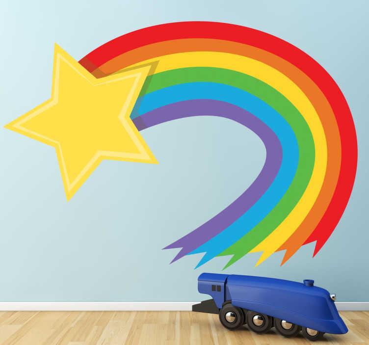 TenStickers. Regenboog ster sticker. Een hele vrolijke en leuke regenboog sticker met een ster! Geef de kinderkamer wat vrolijke kleuren met deze muursticker!