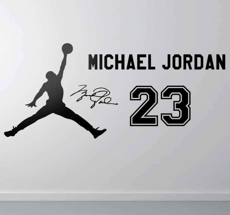 TenStickers. Stencil muro fans Jordan. Un adesivo murale con la silhouette della stella della pallacanestro, il suo caratteristico numero 23 e la sua firma.
