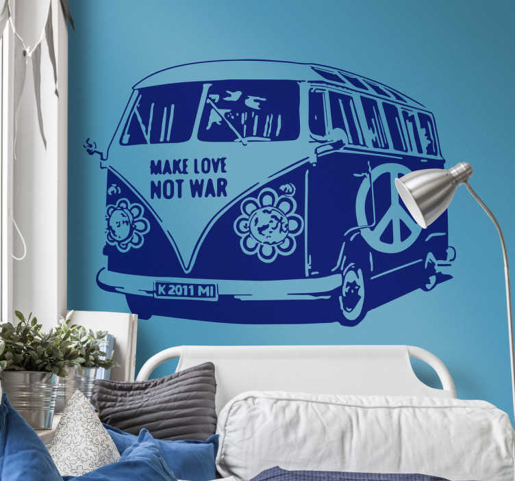 TenStickers. Hippie Van Decorative Decal. A superb wall sticker of the classic Volkswagen van from the 60's, decorated like a hippie van.