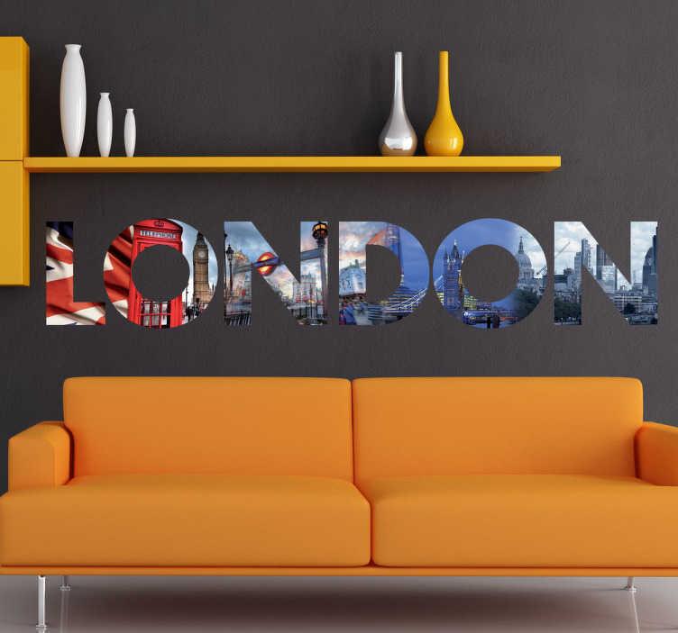"""TenStickers. Mural de parede imagens de Londres. Mural de parede ilustrando as letras """"LONDON"""", preenchidas com fotografias de Londres, ideal para dar a qualquer espaço uma atmosfera vanguardista."""