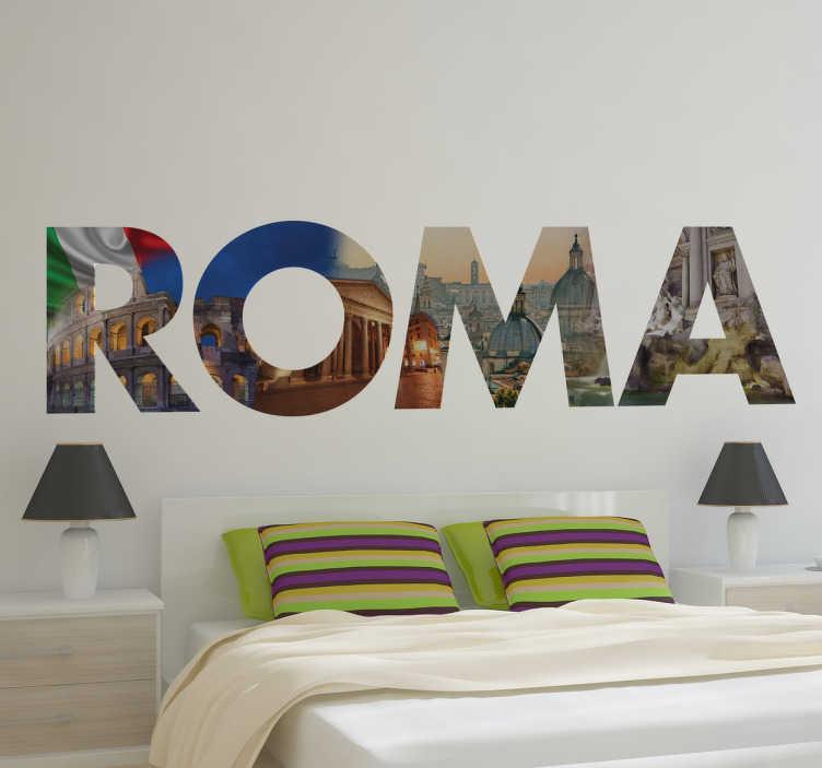 TENSTICKERS. ローマイメージデカール. テンスティッカーから元のローマの壁のステッカーのデザイン。この興味深くユニークなイタリアの壁のステッカーは、あなたの部屋をモダンで目を引くように見せるために、イタリアの旗、大理石などの写真で明瞭に書かれた「roma」という言葉を示しています!
