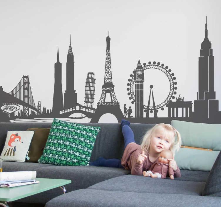 Sticker skyline monumenten wereldwijd