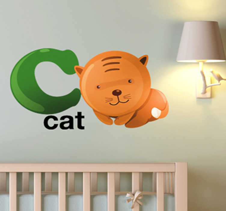 "TenStickers. Letter C Kids Sticker. Kids Stickers - Alphabet themed design. The letter ""C"" accompanied a playful and adorable cat.  Great for personalising kids´bedrooms."