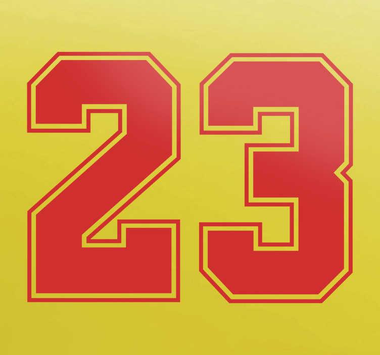 TenStickers. Numeri adesivi Jordan 23. Decorazione adesivaideata per tutti i fan che hanno sempre seguito la carriera del celebre giocatore di pallacanestro deiChicago BullsStickernel quale si illustra il numero 23 diventato leggenda con il solo e unicoMichael Jordan Non lasciano nessun residuo di colla