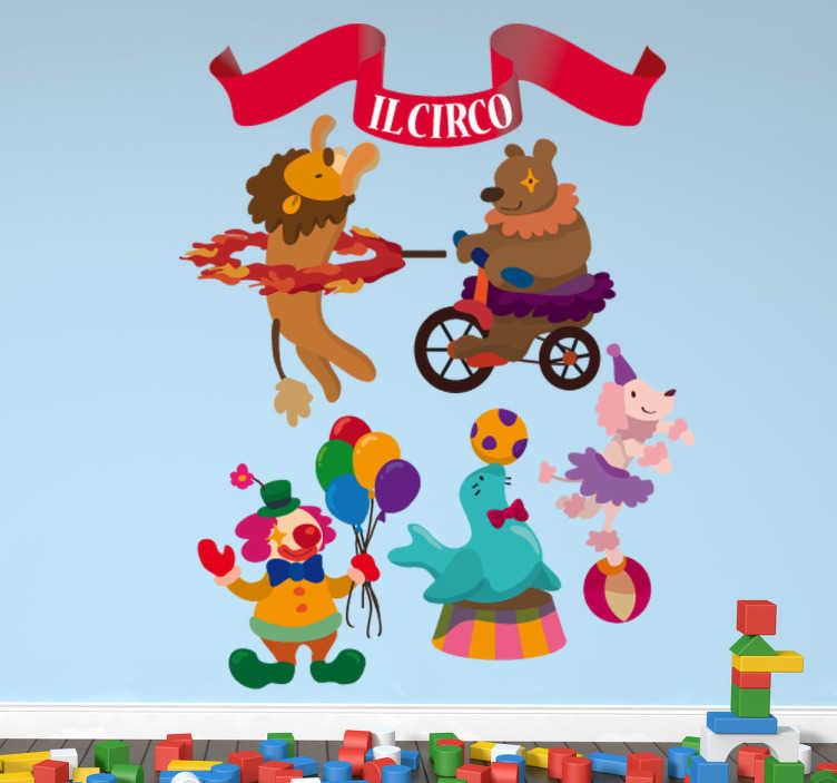 TenStickers. Adesivo cameretta set circo. Collezione di stickers decorativi che raffigurano diversi elementi relazionati al mondo circense.