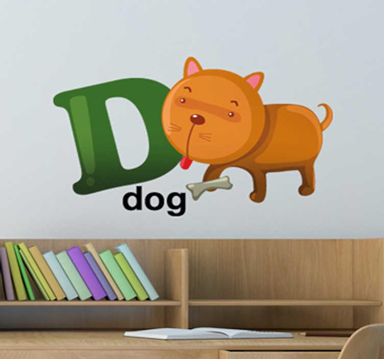 TenStickers. Buchstabe D Englisch Aufkleber. Mit diesem Wandtattoo können Ihre Kinder das Alphabet und Englisch lernen. D wie dog - ein süßer Hund, der den Buchstaben D anleckt.