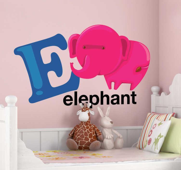 TenStickers. Naklejka dekoracyjna litera E. Naklejka dekoracyjna na ścianę z kolekcji abecadło. Obrazek przedstawia literę E z towarzyszącym jej sympatycznym słoniem.