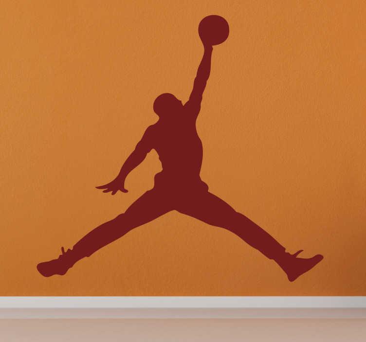 TenStickers. Sticker silhouette Michael Jordan. Deze sticker omtrent Michael Jordan als silhouette die een dunk uitvoert. Prachtig om uw muren mee te decoreren als u ook een ware fan bent.