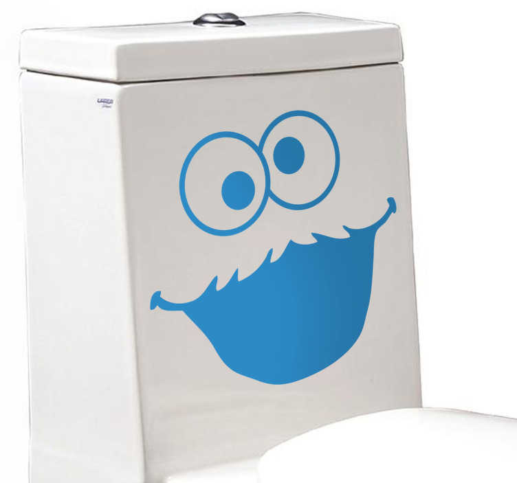 TenStickers. Cookie Monster Toilet Sticker. Cookie Monster sticker for decorating the toilet and adding a unique and fun touch to your bathroom. This funny decal shows the famous Sesame Street character smiling to add something playful to what would otherwise be a boring part of your home.