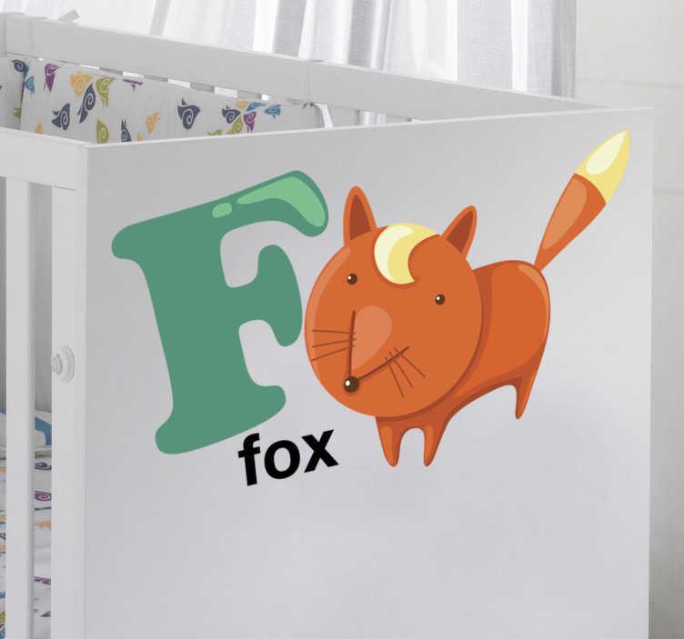 TenVinilo. Vinilo infantil letra F. Vinilo decorativo infantil de las letras del abecedario acompañadas por dibujos animados.La F , primera letra de Fox, que significa zorro en inglés
