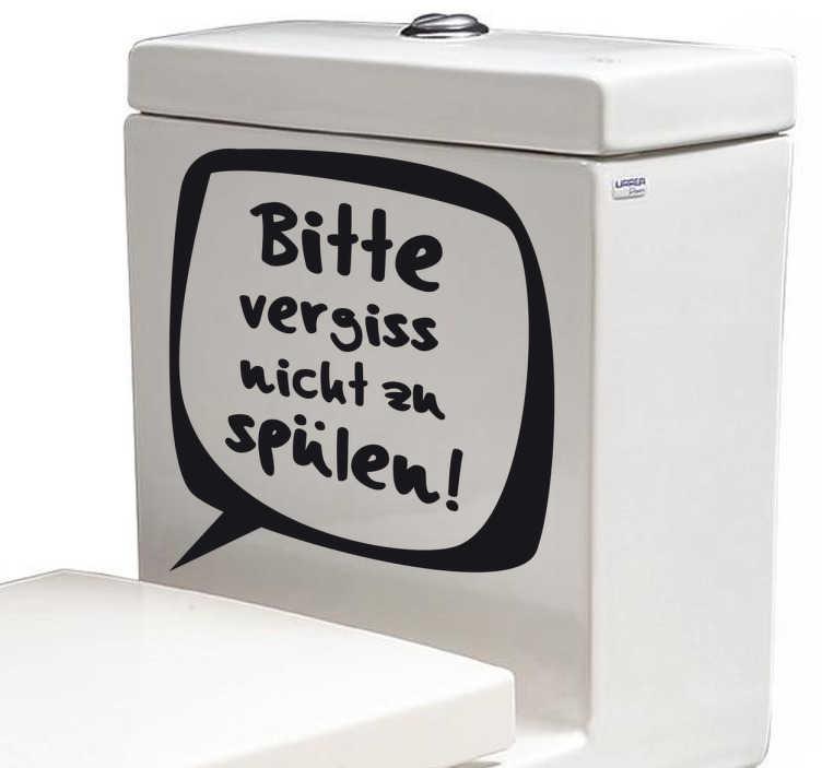 TenStickers. Klospülung Aufkleber. Mit diesem lustigen Sticker weisen Sie alle darauf hin, die Toilettenspülung zu betätigen.