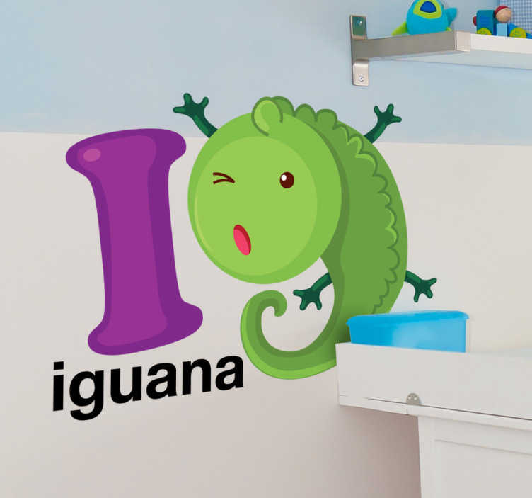 TenStickers. I for Iguana Kids Sticker. A brilliant letter sticker for an exotic an animal! Decorate your child's room with this type of lizard and create an enjoyable atmosphere.
