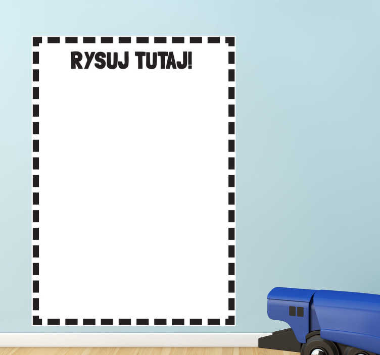 TenStickers. Naklejka biała tablica rysunek. Naklejka na ścianę z kolekcji białe tablice, na której możesz wykonywać dowolne rysunki i wpisy.