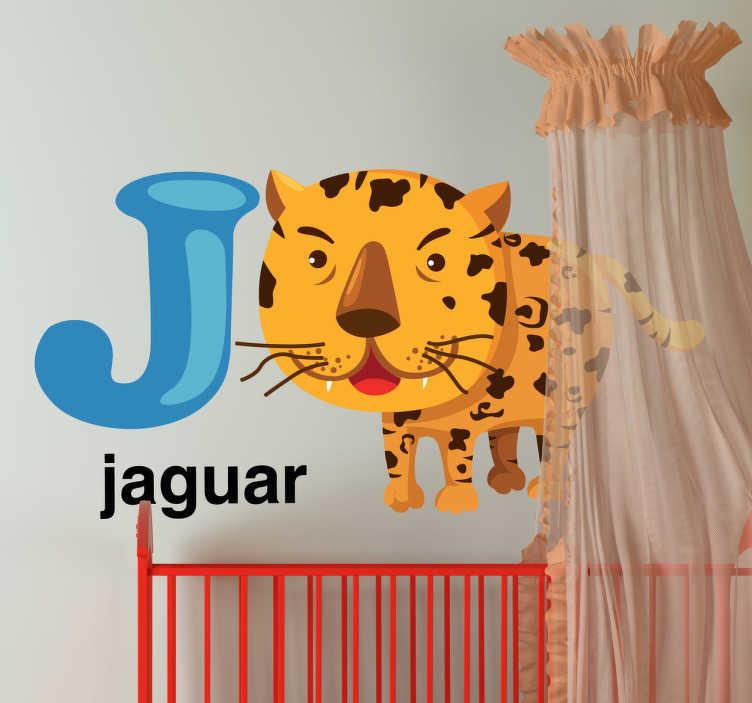 TenVinilo. Vinilo infantil letra J. Vinilo decorativo infantil de las letras del abecedario acompañadas por dibujos animados.Un jaguar con pequeños colmillos está al lado de la letra J.