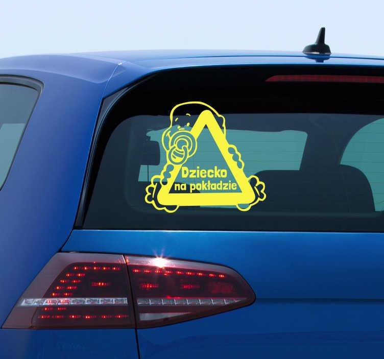 TenStickers. Naklejka dziecko w samochodzie. Naklejka na samochód która poinformuje innych kierowców o obecności Twojej pociechy na pokładzie. Naklejka na każdą gładką powierzchnię!