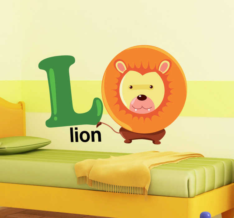 TenStickers. L for Lion Kids Sticker. This decorative decal of the letter L with a lion will enhance the learning of your child! A creative sticker for your child's bedroom.