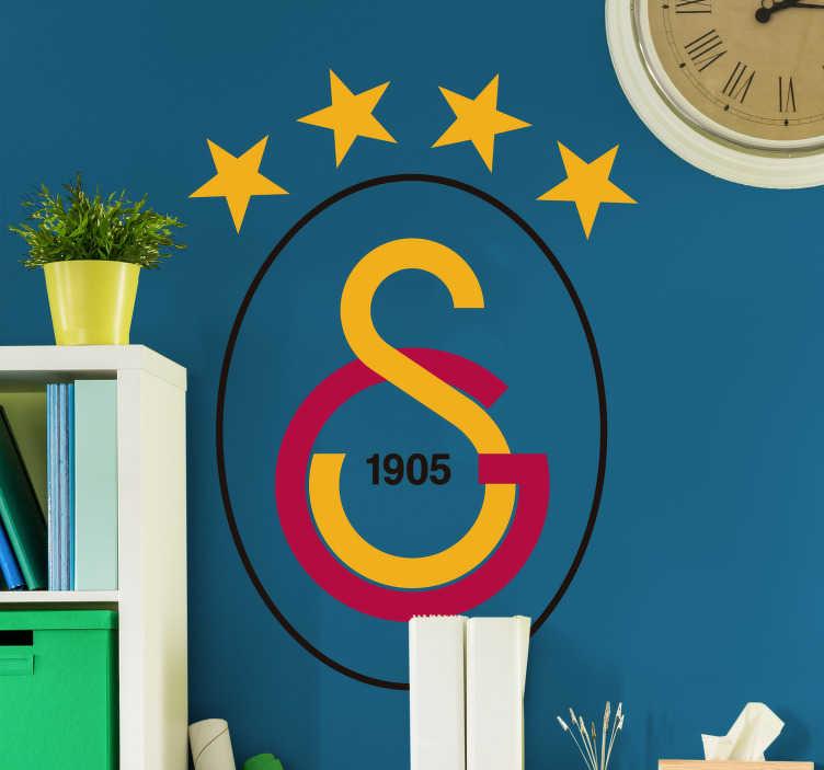 TenStickers. Sticker logo Galatasaray. Le sticker de l'équipe turque la plus connue, Galatasaray, pour les fans et les collectionneurs d'écussons qui veulent personnaliser leur intérieur.
