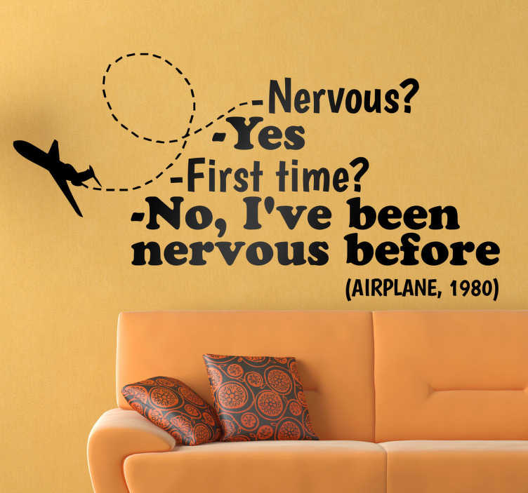 TenStickers. Vinil decorativo texto cómico avião. Vinil decorativo com um diálogo cómico entre aviões. Adesivo de parede para dar um pouco de humor à sua casa.