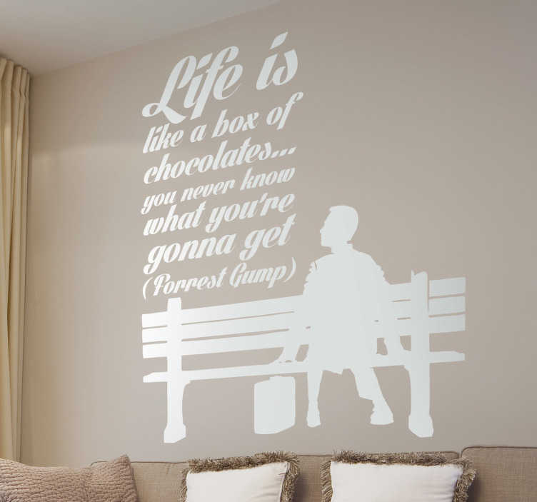 TenStickers. Forrest Gump Quote Wall Sticker. Room Stickers with a quote from the 1994 hit movie Forrest Gump. Funny & inspirational quote decals ideal to decorate your home.