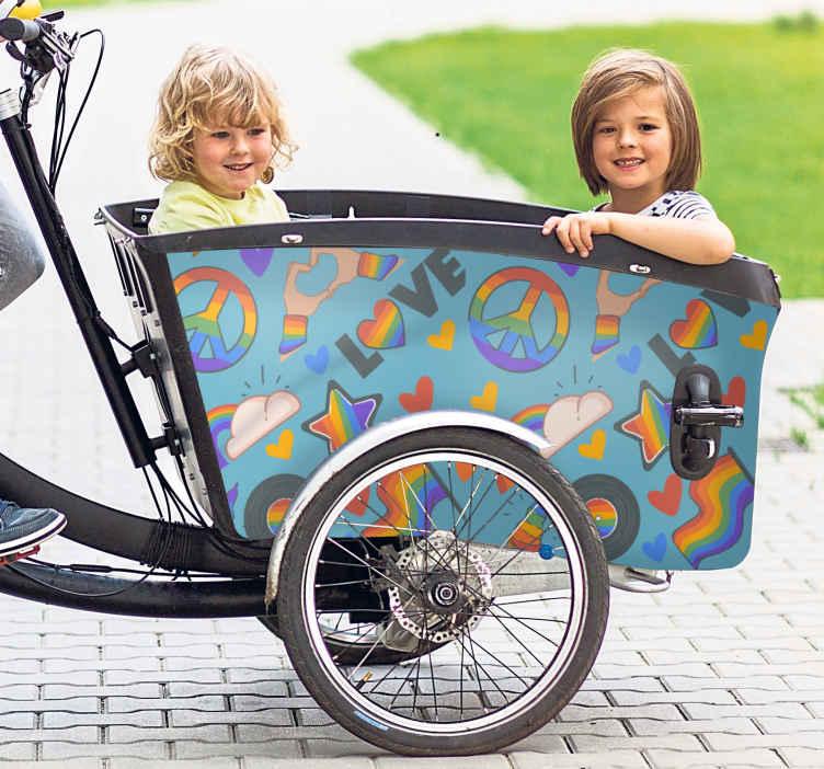 Image of Adesivo bici Amore e pace per la bici da carico