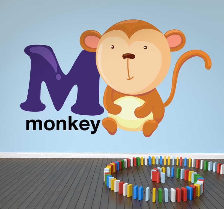 TenStickers. Naklejka dla dzieci litera M. Naklejka na ścianę dla dzieci z kolekcji abecadło z literą M i towarzyszącą jej małpką.