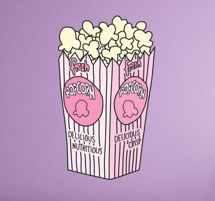 TenStickers. Wall sticker popcorn. Wall sticker decorativo con un sacchetto color rosa riempito di popcorn. Idea originale per decorare la vostra cucina in modo originale e colorato.