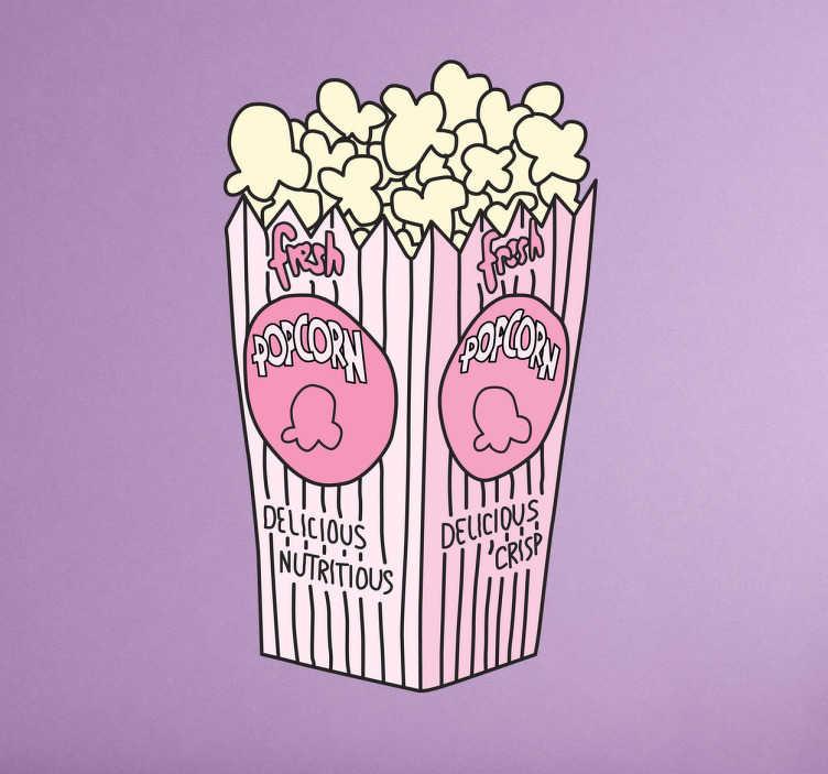 TenStickers. Naklejka różowy popcorn. Naklejka dekoracyjna przedstawiająca kubek pełny popcornu, ulubionej przekąski w kinach i podczas seansów filmowych!