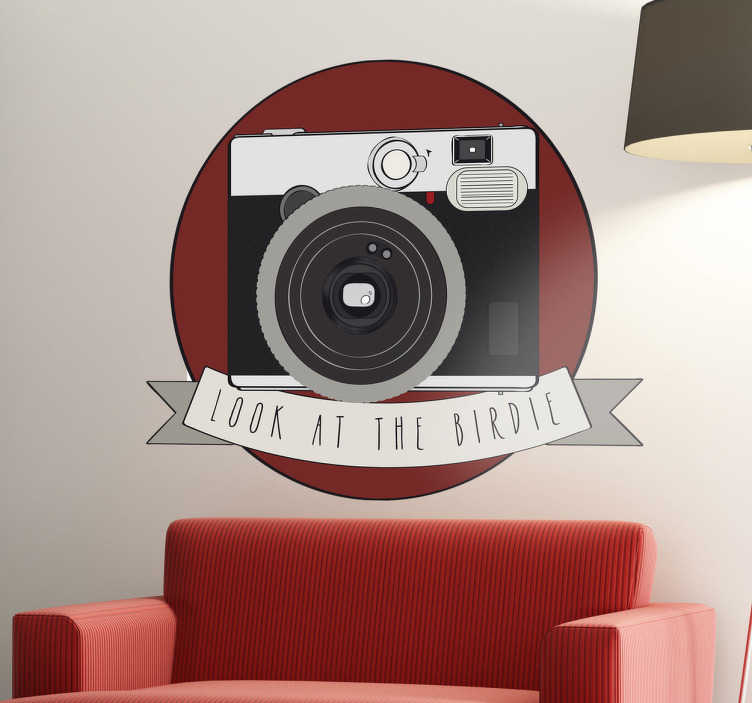 TenStickers. Look at the Birdie Wall Sticker. A great camera wall sticker to decorate your office or studio! Give your place a creative appearance with this high quality decal.