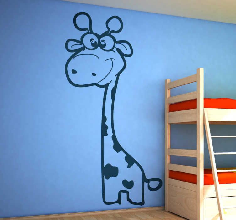 TenStickers. Giraffe Kids Sticker. Cute baby giraffe wall sticker to decorate the kids' bedroom or play area. If you are looking for a decal that is original and will give your room a unique appearance then you have found it! This giraffe decal will provide a fun environment for your children and really bring the room together!