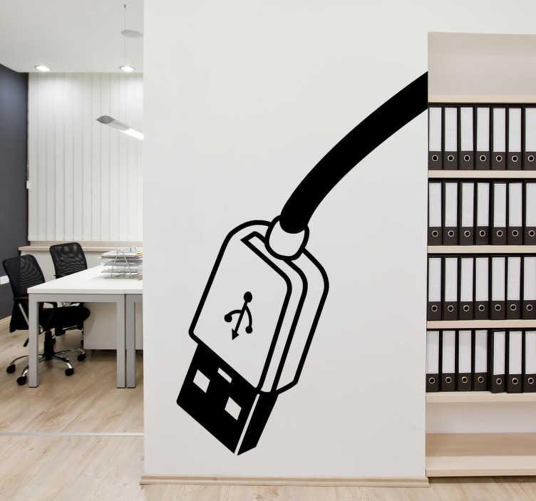 TenStickers. Naklejka kabel USB. Naklejka na ścianę przedstawia wejście USB. Monochromatyczny wzór możesz umieścić w wnętrzach poświęconych tematyce komputerowej i informatycznej.